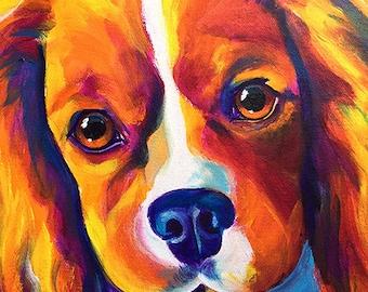 Cavalier King Charles Spaniel, Pet Portrait, DawgArt, Dog Art, Pet Portrait Artist, Colorful Pet Portrait, Spaniel Art, Art Prints, Art