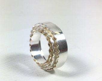 1 foot of Silver Scalloped Bezel Wire 3/16 x 26 ga fine silver .999