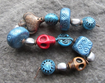 Handmade Clay Large Beads Mixed with metal and acrylic beads