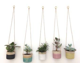 Black handmade ceramic stoneware hanging planter, small