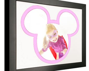 Mickey Mouse Silhouette Picture Frame with Pink and White Mat - For 4x6 Photos