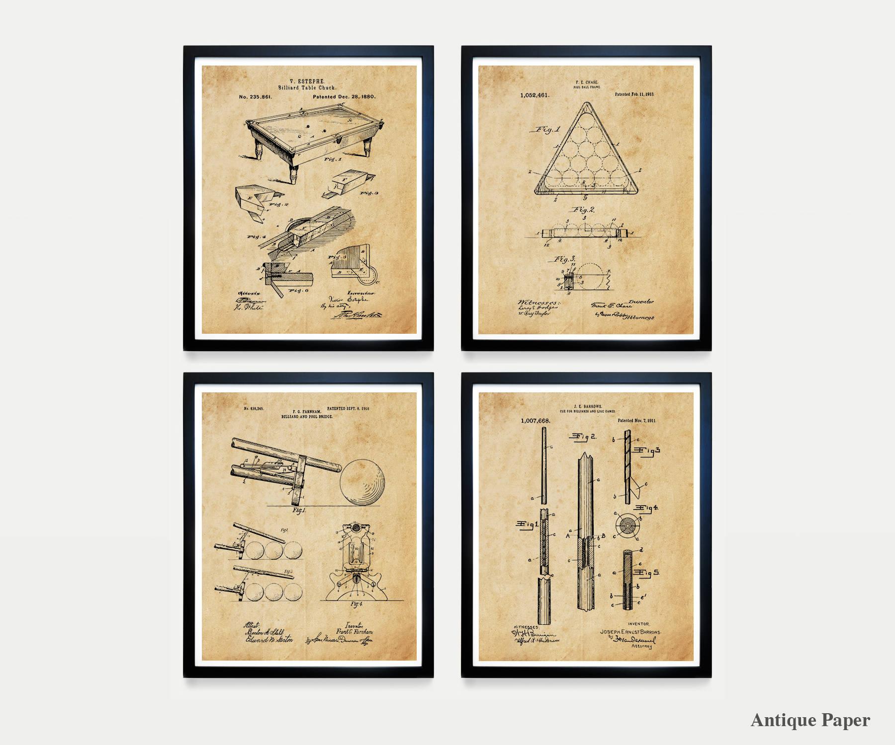 Billiards Poster - Billiards Patent Art - Pool Table - Billiards Cue ...