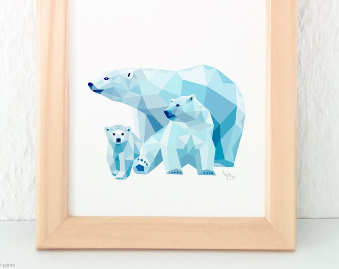 Polar bear family print, Bear illustration, Nursery art, Baby bear illustration, Geometric print, Animal family, Bear cub, Mother Baby art