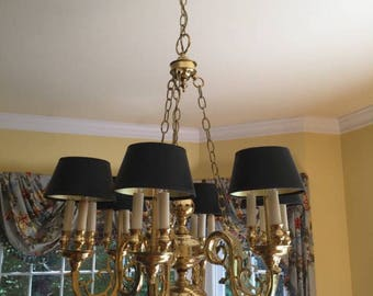 Statley Vintage Brass Bouillotte Colonial Chandelier - 2 Available