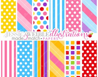 Made 2 Match: I Want Candy Cute Digital Papers - Commercial Use Ok - Digital Backgrounds for Design