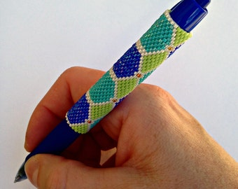 Pen Cover Pattern - Diamond Trellis - Peyote Pattern