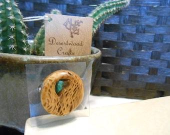 Stunning Handmade Cactus (Wood Look) and Chrysocolla Gem Vintage Pin/Brooch
