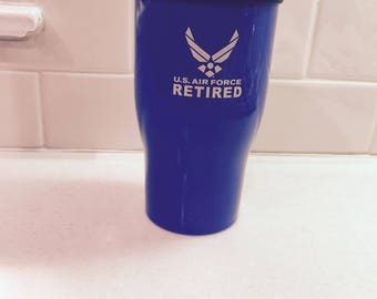 Vintage U.S. Air Force Retired Insulated Coffee Mug Military Mug Air Force Insulated Cup