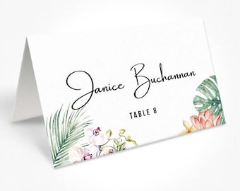 Tropical Wedding Placecards, Place Cards, Monsteria, DEPOSIT | Kimberley Suite