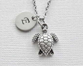 Turtle Initial Necklace Tortoise Sea Turtle Nature Gift Animal Friend Birthday Gift Silver Jewelry Personalized Monogram Hand Stamped Letter