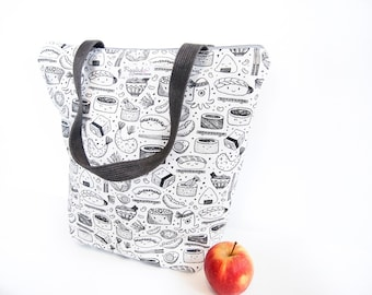 Zippered Tote Shopping Bag - Sushi (Black and White)