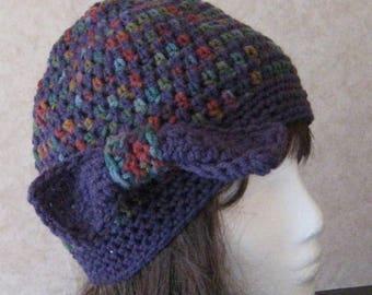 Ladies Womens Crocheted Flapper Cloche Hat Average Size Purple