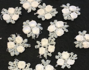 20, 17mm white woven flower appliques, white flower appliques, sew on flower appliques, flower motifs, flower embellishments, crafts
