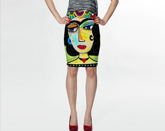 Mexican Girl With Flowers and Heart Necklace Art  Slip Skirt, Knee Length, Colourful, Funky, Fashionable