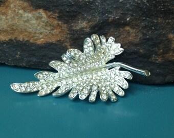 Rhinestone Leaf Brooch Wedding Brooch Statement Brooch Wedding Bouquet Brooch Wedding Accessory