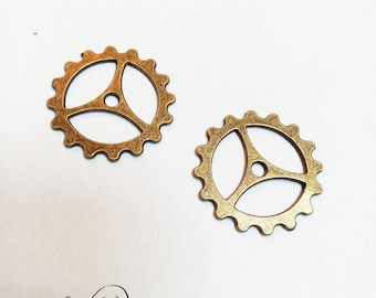 Bronze Steampunk gear COG charm color
