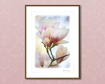 Fine art photography, framed art prints, Magnolia Spring, floral wall decor, textured art, pink white, 24x32cm, 30x40cm, mothers day gift