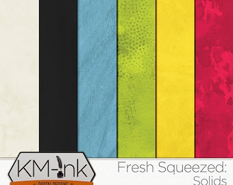 """Summer Digital Scrapbook Solid Printable PAPER PACK: """"Fresh Squeezed"""" textured backgrounds in pink, blue, green, yellow"""