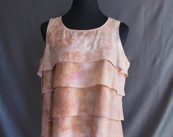 Silk Top Hand-dyed, Plant-dyed with Red Earth and Tumeric, Size Large, No synthetic dyes or heavy metal mordants used