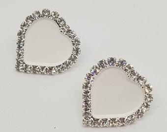 Earrings, enamelled earrings, cold enamel, heart earrings, light earrings, rhinestone earrings, enamel, earrings lights