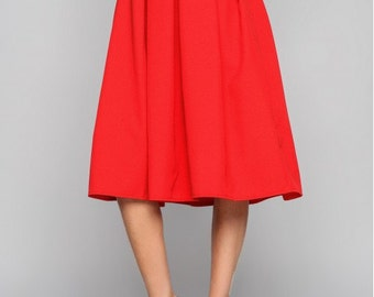 Red midi skirt Summer skirt for woman Autumn skirt Midi skirt Woman skirt Business woman A -line skirt Party red skirt