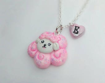 Personalised pink sheep necklace, girls fun necklace, for her, for sheep lovers, animal lovers, cute gift for any occasion