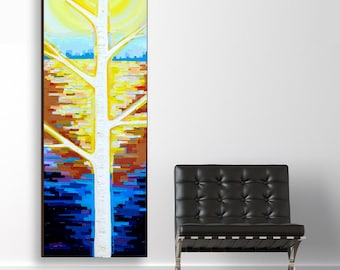 Sunlit Birch no. 1 (20x60) original painting on canvas by Kristi Taylor
