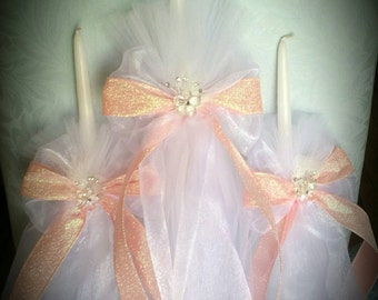 Greek Orthodox Baptism Candles Lambada Christening Pink Sarkle