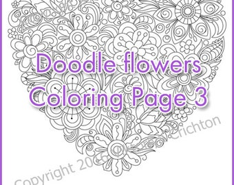 """Adult coloring page doodle flowers """"I love you!"""", zentangle pattern, printable art original, PDF"""