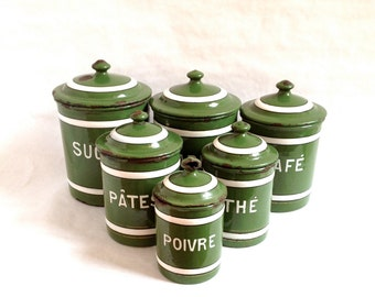Set of 6 Vintage French Green and White Enamelware Nesting Spice Canisters