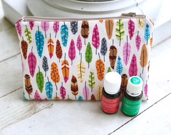 Essential oil travel case, holds 8-11 bottles,  feathers  essential oil Bag Essential oil gift Essential oil storage essential oil