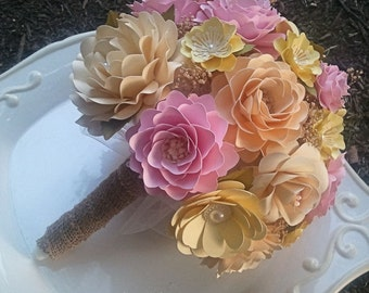 Paper Flower Bouquet - Wedding Bouquet - Country Rustic - Pink and Yellow - Custom Made - Any Color