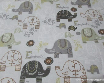 Flannel Fabric - Baby Elephants Print - By the yard - 100% Cotton Flannel