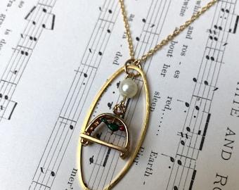 Vintage Bird Cage Necklace