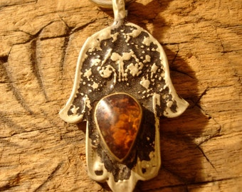 Brown jewel  backed small Moroccan Hand  pendant