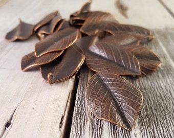 2PCS Antique Copper Vintage Style Highly Detailed Leaf Charm