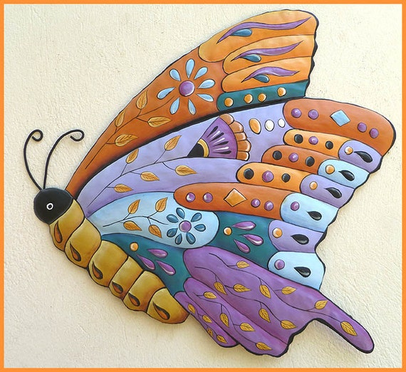 metal wall art garden art painted metal butterfly wall. Black Bedroom Furniture Sets. Home Design Ideas