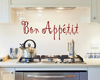Bon Appetit, Kitchen Wall Decal, Kitchen Decor, Wall Decal