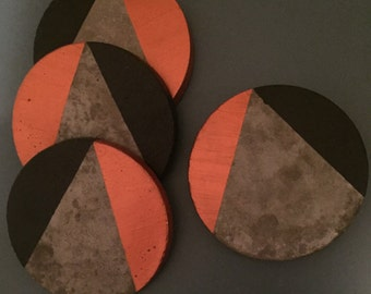 Set of 4 Concrete copper geometric coasters