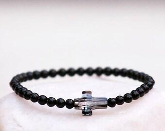 Swarovski Cross Bracelet, Agate Bracelet, Mala Bracelet, Black Agates Bracelet, Gemstones Bracelet, Crystal Balance Protection Bracelet