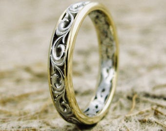 Two-Tone Wedding Band in 14K White & Yellow Gold with Flower Patterned Motif Size 4