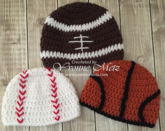 Play Ball, Touch Down or Slam Dunk -  Crocheted Baseball, Football or Basketball Beanies - Made to Order, Infant, Toddler Teen/Adult sizes