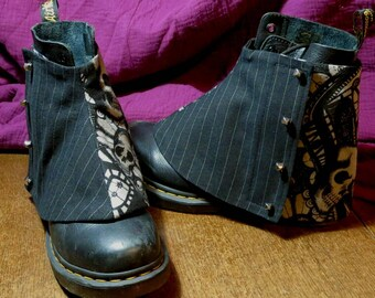 men's spats skulls and black linen pinstripe spats  adjustable size