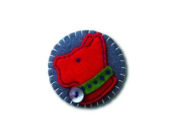 Clip Art Inspired Scottish Dog Design Handmade Felt Brooch