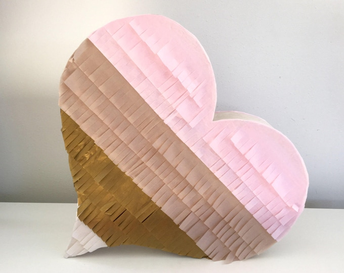 READY to ship Wedding Pinata Wedding Guest Book Pinata Blush, Baby Pink, Antique Gold and Ivory Heart Piñata, Heart Shaped Piñata