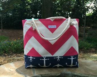 Pink Chevron Beach Bag, Large Tote, Anchor Tote, Monogram Beach Bag