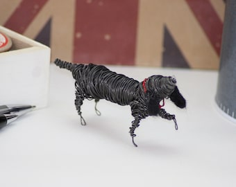 SALE....Wire dog- mini sculpture. 'showing off' !!!