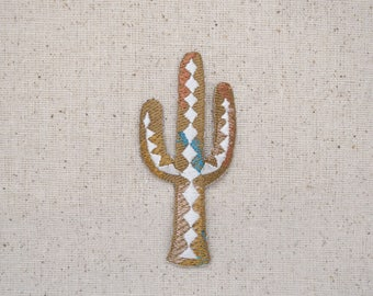 Saguaro Cactus - Southwest Tribal design - Iron on Applique - Embroidered Patch - 697072-A