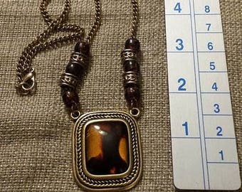 Brown-toned Vintage Necklace with Square Pendant