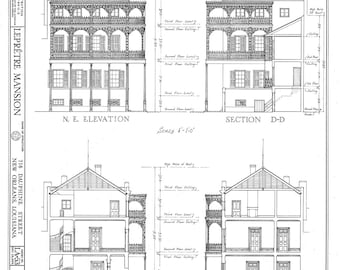 New orleans french quarter pictoral map 1928 giclee fine art new orleans french quarter mansion architectural drawing blueprint elevations and sections giclee print 18x 24 malvernweather Image collections